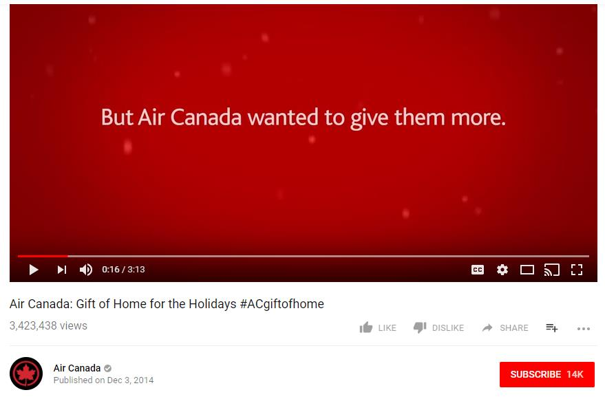 Air Canada: Gift of Homecoming for Holidays