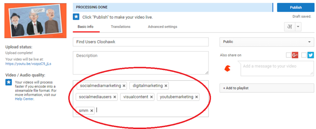 Tags in youtube videos