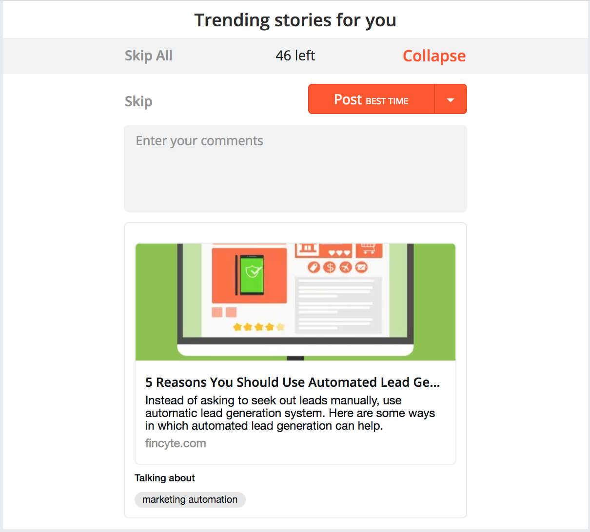 Trending Stories to Increase Engagement - Hootsuite Hubspot Buffer Social Cloud Marketing Cloud