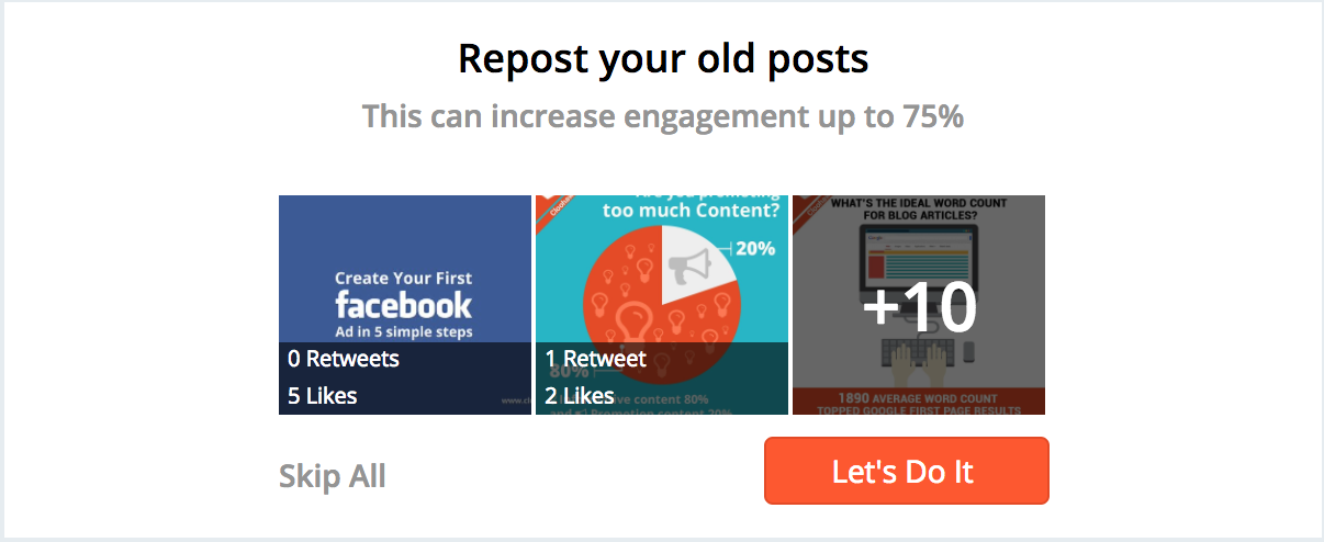 Repost old posts to increase engagement - Hootsuite Hubspot Buffer Social Cloud Marketing Cloud