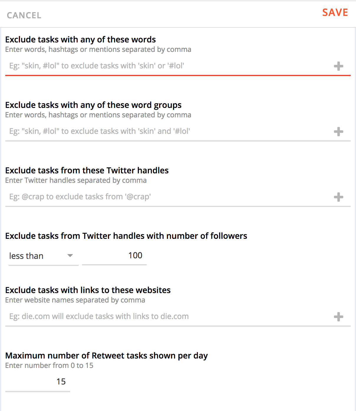 Cloohawk Task Filter Settings, Increase Twitter Followers, Buffer, Hootsuite